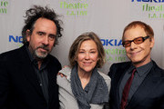 (L-R) Director Tim Burton, actress Catherine O'Hara and composer Danny Elfman attend Danny Elfman's Music from the films of Tim Burton at Nokia Theatre L.A. Live on October 31, 2013 in Los Angeles, California.