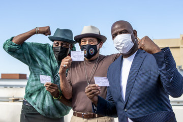 Danny Trejo Mayor Eric Garcetti Joins Magic Johnson, Arsenio Hall And Danny Trejo As They Receive COVID-19 Vaccine And Discuss Vaccine Equity