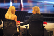 (L-R) Jury members Michelle Hunziker and Thomas Gottschalk at the 'Das Supertalent' Semi Finals on December 08, 2012 in Cologne, Germany.