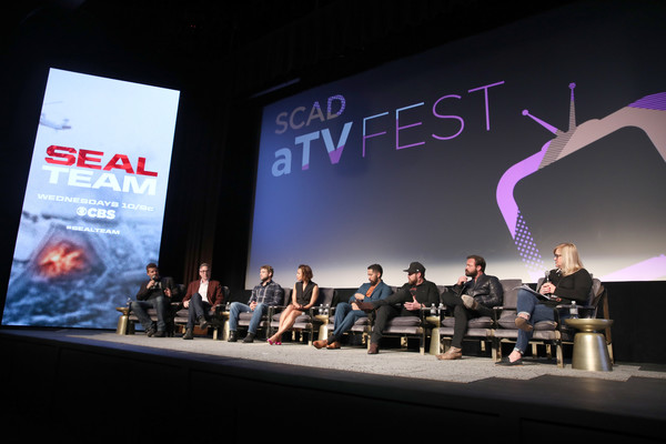 SCAD aTVfest 2019 – 'SEAL Team' [seal team,product,stage,event,design,convention,display device,architecture,performance,brand,media,john glenn,david boreanaz,judd lormand,buckley,max thieriot,neil brown jr.,toni trucks,a.j.,scad atvfest]