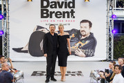 """Ricky Gervais and Jane Fallon arrive for the World premiere """"David Brent: Life On The Road"""" at Odeon Leicester Square on August 10, 2016 in London, England."""