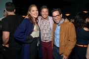Mary McCormack (L), Dan Bucatinsky (R), and cookbook author David Burtka are seen as he and husband Neil Patrick Harris celebrate the launch of Life Is a Party with the Capital One Savor® credit card on April 23, 2019 at Osteria Mozza in Los Angeles.