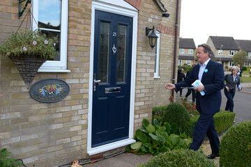 David Cameron Theresa May Canvasses With Witney By-Election Conservative Party Candidate