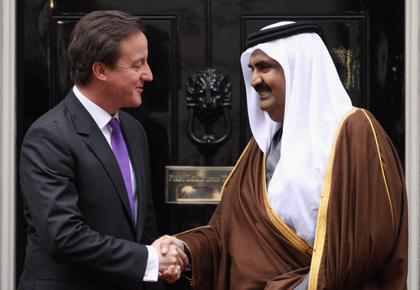 David Cameron British Prime Minister David Cameron (L) greets the Emir of Qatar, Sheikh Hamad bin Khalifa al Thani at 10 Downing Street on October 26, 2010 in London, England. The Sheikh is on a two day State visit to the UK, the first since his last in 1985, which is seen as important in strengthening already strongly established business links with one of the Gulf States most financially powerful nations.
