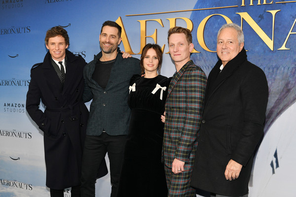 'The Aeronauts' New York Premiere [the aeronauts,premiere,event,white-collar worker,team,tom harper,todd lieberman,david hoberman,eddie redmayne,felicity jones,l-r,new york,sva theater,premiere]