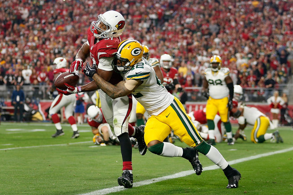 Green Bay Packers v Arizona Cardinals [player,sports,sports gear,helmet,canadian football,gridiron football,team sport,sprint football,ball game,football gear,david johnson,morgan burnett,safety,football,front,university of phoenix stadium,arizona,arizona cardinals,green bay packers,game]