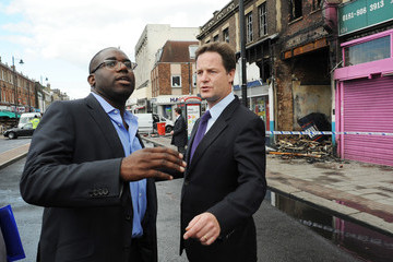 David Lammy Deputy Prime Minister Nick Clegg Visits Tottenham Following The Rioting