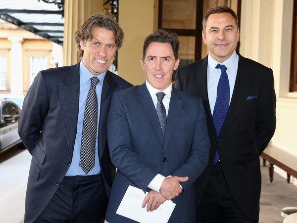 The Queen Hosts Reception to Present The Queen's Young Leaders Awards [queen hosts reception,suit,white-collar worker,businessperson,formal wear,event,business,management,official,tuxedo,company,queen,rob brydon,david walliams,john bishop,young leaders awards,l-r,buckingham palace,england,london]