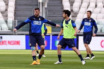 Davide Santon Italy Training Session And Press Conference