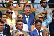Former football manager Sir Alex Ferguson attends the Royal Box during Day eleven of The Championships - Wimbledon 2019 at All England Lawn Tennis and Croquet Club on July 12, 2019 in London, England.