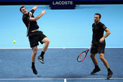 Jamie Murray of Great Britain and partner Bruno Soares of Brazil return the ball during the doubles match against Marcel Granollers of Spain and Ivan Dodig of Croatia on day four of the 2017 Nitto ATP World Tour Finals at O2 Arena on November 15, 2017 in London, England.