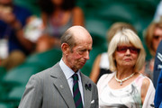 Prince Edward, Duke of Kent takes his seat on Centre Court for the Ladies' Singles Fourth Round match between Serena Williams of the United States and Venus Williams of the United States during day seven of the Wimbledon Lawn Tennis Championships at the All England Lawn Tennis and Croquet Club on July 6, 2015 in London, England.