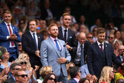 England Cricketers Jonny Bairstow, Joe Root, Stuart Broad and Eoin Morgan are seen in the Royal Box on centre court during Day six of The Championships - Wimbledon 2019 at All England Lawn Tennis and Croquet Club on July 06, 2019 in London, England.