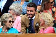 Former footballer David Beckham attend the Royal Box during Day Ten of The Championships - Wimbledon 2019 at All England Lawn Tennis and Croquet Club on July 11, 2019 in London, England.