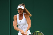 Daniela Hantuchova of Slovakia plays a backhand during the Ladies Singles first round match against Christina McHale of the United States on day two of the Wimbledon Lawn Tennis Championships at the All England Lawn Tennis and Croquet Club on June 28, 2016 in London, England.