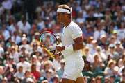 Rafael Nadal of Spain celebrates a point against Dudi Sela of Isreal during his Men's Singles first round match against on day two of the Wimbledon Lawn Tennis Championships at All England Lawn Tennis and Croquet Club on July 3, 2018 in London, England.