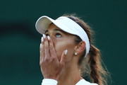 Vitalia Diatchenko of Russia reacts to her victory over Maria Sharapova of Russia during their Ladies' Singles first round match on day two of the Wimbledon Lawn Tennis Championships at All England Lawn Tennis and Croquet Club on July 3, 2018 in London, England.