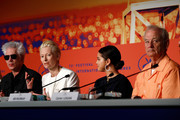 "(L-R) Jim Jarmusch, Tilda Swinton, Selena Gomez and Bill Murray attend the press conference for ""The Dead Don't Die"" during the 72nd annual Cannes Film Festival on May 15, 2019 in Cannes, France."
