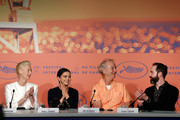 "(L-R) Tilda Swinton, Selena Gomez, Bill Murray and Carter Logan attend the press conference for ""The Dead Don't Die"" during the 72nd annual Cannes Film Festival on May 15, 2019 in Cannes, France."