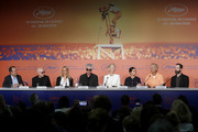 "(L-R) Joshua Astrachan, Chloe Sevigny, Jim Jarmusch, Tilda Swinton, Selena Gomez, Bill Murray and Carter Logan attend the press conference for ""The Dead Don't Die"" during the 72nd annual Cannes Film Festival on May 15, 2019 in Cannes, France."