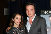 Actress Abigail Spencer (L) and actor Aden Young attend Deadline Hollywood's 2015 Emmy party at The Spare Room on June 9, 2015 in Hollywood, California.