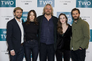 Matthew Rhys, Valene Kane, Allan Cubitt, Ann Skelly and Jamie Dornan attend a photocall for 'Death and Nightingales' at Soho Hotel on November 26, 2018 in London, England.