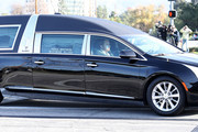 A funeral procession transports Debbie Reynolds and Carrie Fisher to their joint Memorial and Funeral at Forest Lawn Cemetery on January 6, 2017 in Los Angeles, California.