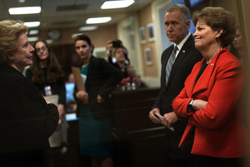 Debbie Stabenow Sen. Jeanne Shaheen (D-NH) Holds News Conference on the U.S. Olympics Investigation