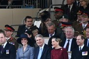 (Front row, L-R) Britain's Prince William, Duke of Cambridge, Britain's Catherine, Duchess of Cambridge, British Chancellor of the Exchequer Philip Hammond, Britain's Sophie, Countess of Wessex, and Britain's Prince Edward, Earl of Wessex attend a Service of Commemoration and Drumhead Service on Horse Guards Parade in central London on March 9, 2017, which honours the service and duty of both the UK Armed Forces and civilians in the Gulf region, Iraq and Afghanistan, and those who supported them back home, from 1990-2015..After the Drumhead Service, The Queen will officially unveil The Iraq and Afghanistan memorial. / AFP PHOTO / Justin TALLIS