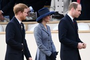 Britain's Prince Harry (L), Britain's Catherine, Duchess of Cambridge (C), Britain's Prince William, Duke of Cambridge (R) arrive to attend a Service of Commemoration and Drumhead Service on Horse Guards Parade in central London on March 9, 2017, which honours the service and duty of both the UK Armed Forces and civilians in the Gulf region, Iraq and Afghanistan, and those who supported them back home, from 1990-2015..After the Drumhead Service, The Queen will officially unveil The Iraq and Afghanistan memorial. / AFP PHOTO / Justin TALLIS