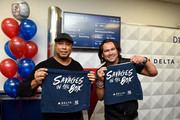 Bernie Williams, Johnny Damon, and Delta, the official airline of the New York Yankees, celebrate the 2019 Yankees at LaGuardia Airport on October 18, 2019 in New York City.