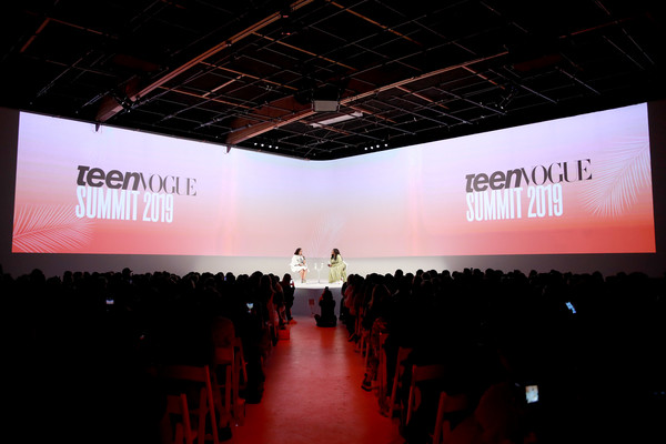The Teen Vogue Summit 2019: On-Stage Conversations And Atmosphere [projection screen,convention,stage,display device,design,event,projector accessory,technology,architecture,auditorium,editor in chief,demi lovato,lindsay peoples wagner,atmosphere,stage,california,teen vogue,l,goya studios,teen vogue summit 2019: on-stage conversations]