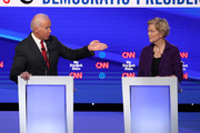 Former Vice President Joe Biden challenges Sen. Elizabeth Warren (D-MA) during the Democratic Presidential Debate at Otterbein University on October 15, 2019 in Westerville, Ohio. A record 12 presidential hopefuls are participating in the debate hosted by CNN and The New York Times.