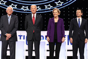 Sen. Bernie Sanders (I-VT), former Vice President Joe Biden, Sen. Elizabeth Warren (D-MA), and South Bend, Indiana Mayor Pete Buttigieg are introduced before the Democratic Presidential Debate at Otterbein University on October 15, 2019 in Westerville, Ohio. A record 12 presidential hopefuls are participating in the debate hosted by CNN and The New York Times.