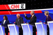 Sen. Kamala Harris (D-CA), Sen. Bernie Sanders (I-VT), former Vice President Joe Biden, and Sen. Elizabeth Warren (D-MA) on stage during the Democratic Presidential Debate at Otterbein University on October 15, 2019 in Westerville, Ohio. A record 12 presidential hopefuls are participating in the debate hosted by CNN and The New York Times.