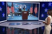 In this screenshot from the DNCC's livestream of the 2020 Democratic National Convention, actress and activist Eva Longoria (R) introduces Rep. Gwen Moore (D-WI) to address the virtual convention on August 17, 2020.  The convention, which was once expected to draw 50,000 people to the Milwaukee, Wisconsin, is now taking place virtually due to the coronavirus pandemic.