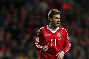 Nicklas Bendtner of Denmark looks on during the FIFA 2018 World Cup Qualifier Play-Off: First Leg between Denmark and Republic of Ireland at Telia Parken on November 11, 2017 in Copenhagen, .