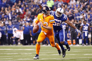 Barkevious Mingo #52 of the Indianapolis Colts sacks Trevor Siemian #13 of the Denver Broncos during the first half at Lucas Oil Stadium on December 14, 2017 in Indianapolis, Indiana.