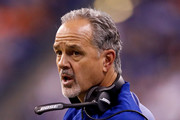 Head coach Chuck Pagano of the Indianapolis Colts reacts against the Denver Broncos during the second half at Lucas Oil Stadium on December 14, 2017 in Indianapolis, Indiana.