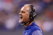 Head coach Chuck Pagano of the Indianapolis Colts yells a command at his team against the Denver Broncos during the second half at Lucas Oil Stadium on December 14, 2017 in Indianapolis, Indiana.