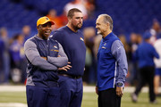 Head coach Vance Joseph of the Denver Broncos talks with head coach Chuck Pagano of the Indianapolis Colts prior to the game at Lucas Oil Stadium on December 14, 2017 in Indianapolis, Indiana.