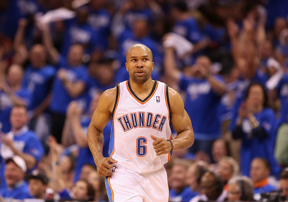 Derek Fisher Derek Fisher #6 of the Oklahoma City Thunder reacts after hitting a three point shot against the Houston Rockets during the second half of Game One of the Western Conference Quarterfinals of the 2013 NBA Playoffs at Chesapeake Energy Arena on April 21, 2013 in Oklahoma City, Oklahoma. The Thunder defeated the Rockets 120-91. NOTE TO USER: User expressly acknowledges and agrees that, by downloading and or using this photograph, User is consenting to the terms and conditions of the Getty Images License Agreement.