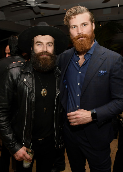 """Paramount Network's """"68 Whiskey"""" Premiere Party [facial hair,beard,fashion,outerwear,moustache,event,jacket,suit,bodyguard,leather,68 whiskey,derek theler,stephen murphy,premiere party,l-r,los angeles,california,sunset tower,paramount network,derek theler,sam keeley,68 whiskey,baby daddy,paramount network,actor,photography,photograph,los angeles]"""