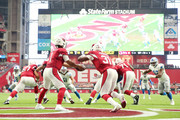 Quarterback Kyler Murray #1 of the Arizona Cardinals looks to handoff to running back David Johnson #31 in the first quarter of the game against the Detroit Lions at State Farm Stadium on September 08, 2019 in Glendale, Arizona.