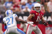 Wide receiver Larry Fitzgerald #11 of the Arizona Cardinals makes a reception against cornerback Justin Coleman #27 of the Detroit Lions during the second half of the NFL game at State Farm Stadium on September 08, 2019 in Glendale, Arizona. The Lions and Cardinals tied 27-27.