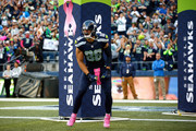 Jimmy Graham #88 of the Seattle Seahawks runs onto the field prior to the game against the Detroit Lions at CenturyLink Field on October 5, 2015 in Seattle, Washington.