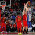 Ersan Ilyasova Photos - Blake Griffin #23 of the Detroit Pistons shoots a three-point basket over Ersan Ilyasova #7 of the Atlanta Hawks in the final seconds of their 118-115 loss at Philips Arena on February 11, 2018 in Atlanta, Georgia.  NOTE TO USER: User expressly acknowledges and agrees that, by downloading and or using this photograph, User is consenting to the terms and conditions of the Getty Images License Agreement. - Detroit Pistons v Atlanta Hawks