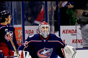Sergei Bobrovsky #72 of the Columbus Blue Jackets warms up prior to the start of the game against the Detroit Red Wings on March 9, 2018 at Nationwide Arena in Columbus, Ohio.