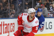 Frans Nielsen #51 of the Detroit Red Wings skates with the puck against the Toronto Maple Leafs during an NHL game at the Air Canada Centre on March 24, 2018 in Toronto, Ontario, Canada. The Maple Leafs defeated the Red Wings 4-3. (Photo by Claus Andersen/Getty Images) *** Local Caption *** Frans Nielsen