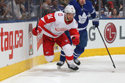 Frans Nielsen #51 of the Detroit Red Wings chases after a puck against Roman Polak #46 of the Toronto Maple Leafs during an NHL game at the Air Canada Centre on March 24, 2018 in Toronto, Ontario, Canada. The Maple Leafs defeated the Red Wings 4-3.